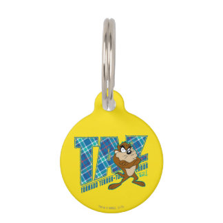 TAZ™ Tornado Terror Plaid Pet Name Tag