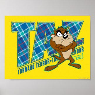 TAZ™ Tornado Terror Plaid Poster