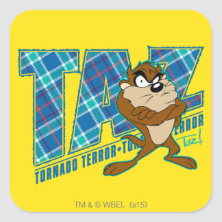 TAZ™ Tornado Terror Plaid Square Sticker