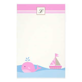 "{TBA} 5.5"" x 8.5"" Stationary Pink Sail Boat Whale Stationery"