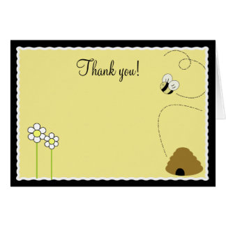 {TBA} Bee Happy Bumble Bee Folded Thank you notes Card