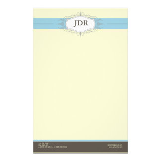 {TBA} Chic Deco Baby Blue Customized Stationery