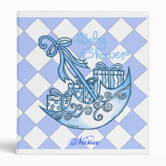 TBA Custom Name Blue Boy Baby Shower Vinyl Binder