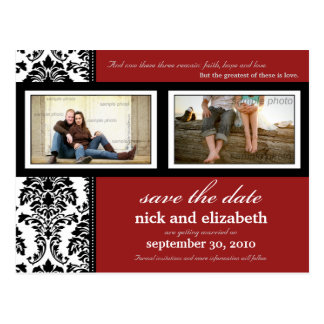 {TBA} Damask 2-Photo Red-Black-White Save the Date Postcard
