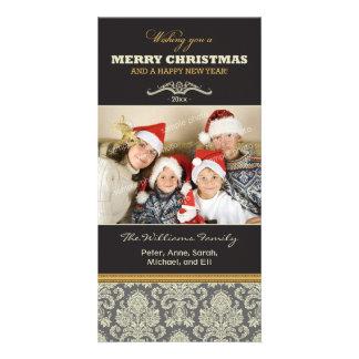 {TBA} Damask Pattern Family Holiday Photocard Personalized Photo Card