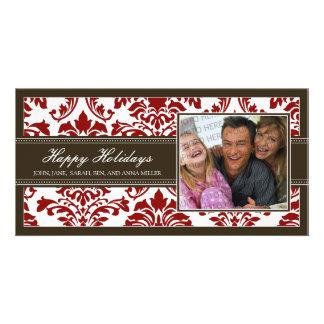 {TBA} Elegant Brown & Red Damask Happy Holidays Custom Photo Card
