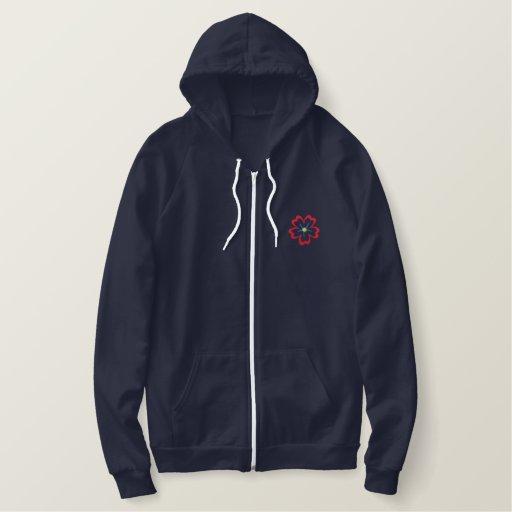 Tba floral embroidered ladies zip up hoodie jacket zazzle