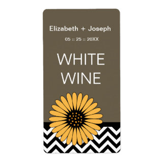 (TBA) Gerbera Daisy  & Chevron Wine Labels