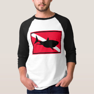 {TBA} Great white shark diving sign men's t-shirt