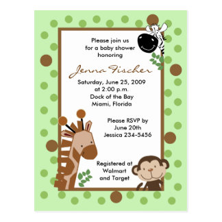 TBA Jungle Adventure Safari Baby Shower Post Cards