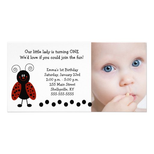 {TBA} Little Ladybug Photo Birthday / Birth Personalized Photo Card