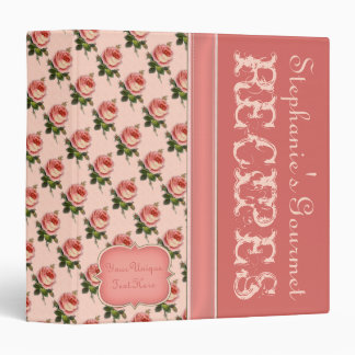 TBA Vintage Roses Recipe Binder -Coral Peach Green