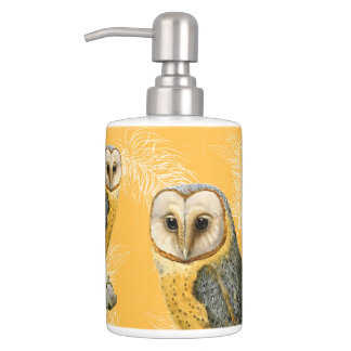 TCWC - Barn Owl Vintage Soap Dispenser And Toothbrush Holder