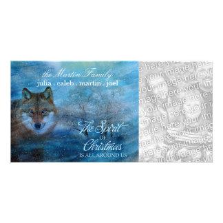 TCWC - Blue Wolf Woodland Spirit of Christmas Customized Photo Card