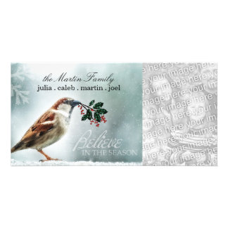 TCWC - Holiday Snowy House Sparrow Photo Card Template
