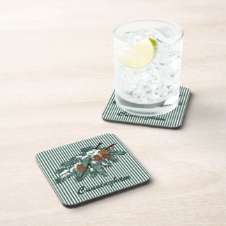 TCWC   Winter Pine Branch with Stripes Drink Coaster