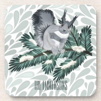 TCWC   Winter Squirrel on a Pine Branch Drink Coaster