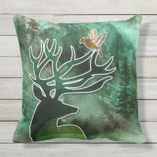 "TCWC - ""Woodland Harmony"" Green Deer and Birds Throw Pillow"