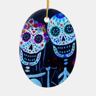 Te amo Dia de los Muertos Wedding Ceramic Oval Ornament