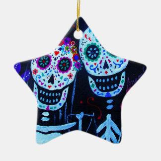 Te amo Dia de los Muertos Wedding Ceramic Star Ornament