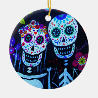 Te amo Dia de los Muertos Wedding Round Ceramic Ornament