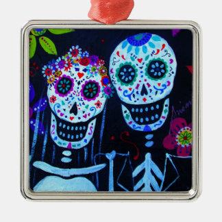 Te amo Dia de los Muertos Wedding Silver-Colored Square Ornament