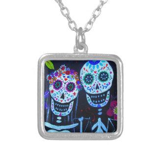 Te amo Dia de los Muertos Wedding Silver Plated Necklace