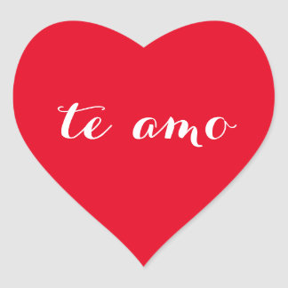 Te amo I Love You in Spanish Red Heart Sticker