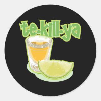 te-kill-ya classic round sticker