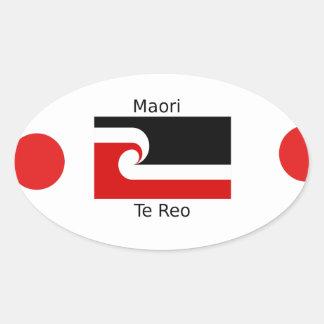 Te Reo Language And Maori Flag Design Oval Sticker