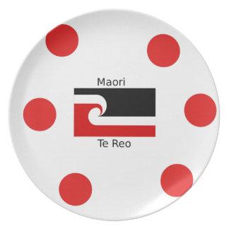 Te Reo Language And Maori Flag Design Plate