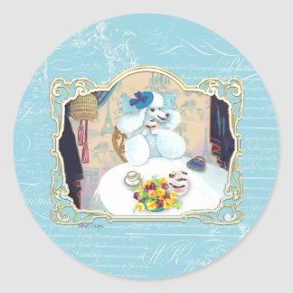 Tea and Crumpets White Poodle Tea Party Round Sticker