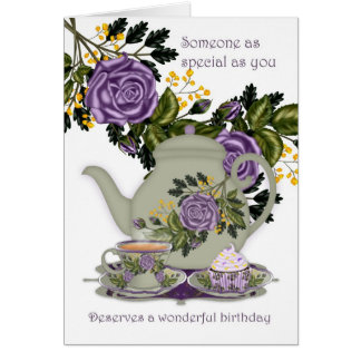 Tea And Cupcake Birthday Card For Someone Special