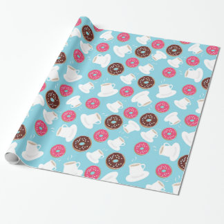 Tea and donuts wrapping paper