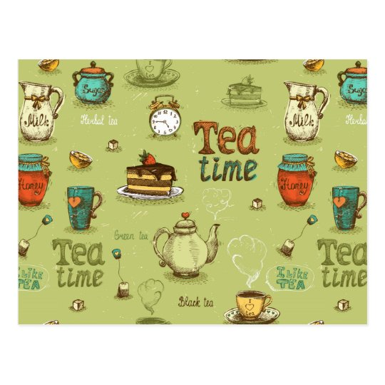 Tea and Honey Tea Time in Green Postcard