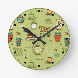 Tea and Honey Tea Time in Green Round Clock