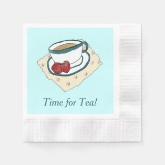 Tea and Strawberries Watercolor Painting Napkins Disposable Napkin