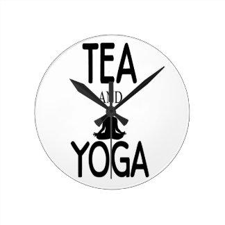 Tea And Yoga Round Clock