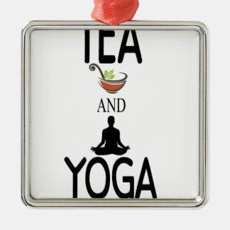 Tea And Yoga Silver-Colored Square Ornament