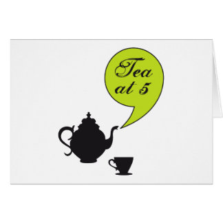 Tea at five, vintage tea pot and cup greeting cards