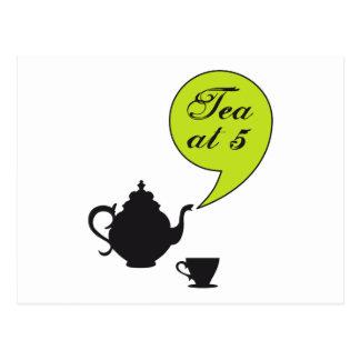 Tea at five, vintage tea pot and cup postcard