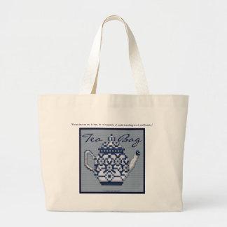 TEA BAG Cross Stitch Style Tea Pot Design