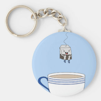 Tea bag jumping in cup basic round button keychain