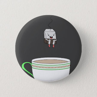 Tea bag jumping in cup of tea 2 inch round button