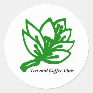 Tea&Coffee_GREEN_2, Tea and Coffee Club Classic Round Sticker
