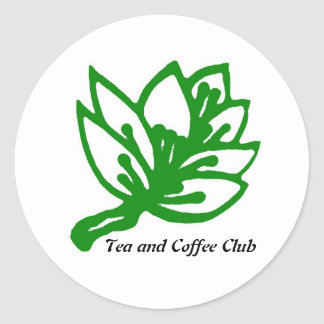 Tea&Coffee_GREEN_2, Tea and Coffee Club Round Sticker