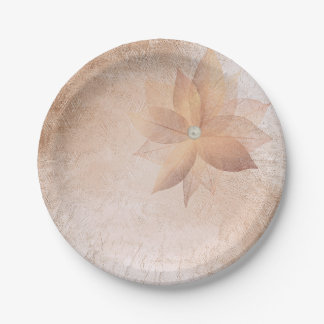 Tea Copper Rose Gold Pastel Pearl Floral Blush Paper Plate