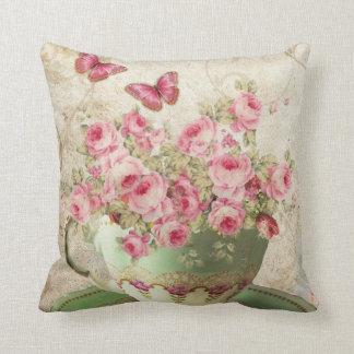 Tea cup flowers throw pillow