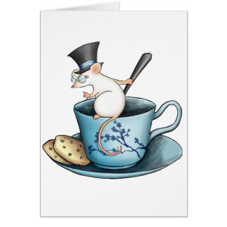Tea Cup Mouse in Tophat Card
