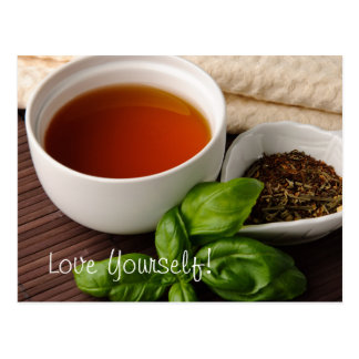 Tea Cup Tea Leaves Herbs Tea Towel on Bamboo Mat Postcard